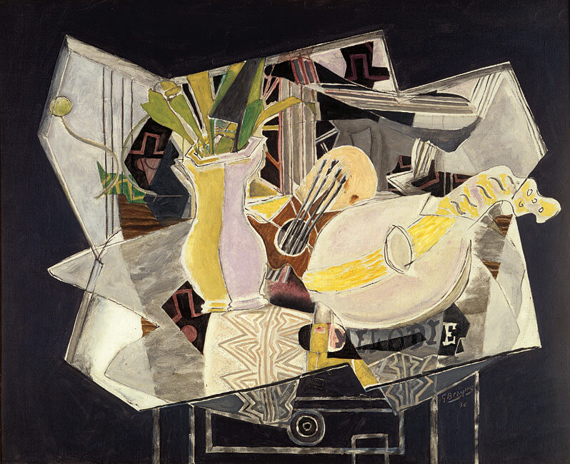 Vase, Palette, and Mandolin, 1936, by Georges Braque